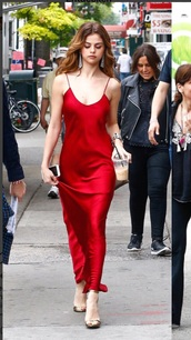 dress,selena gomez,sel,red,long,satin