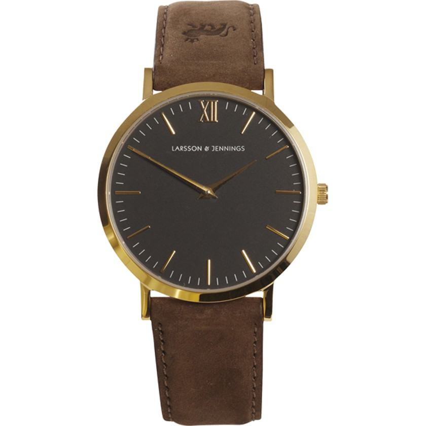 Larsson & Jennings Resurgence Gold & White Watch - Brown Suede Strap