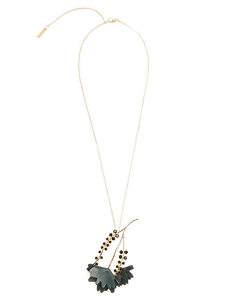embellished necklace leather black jewels
