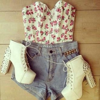 floral crop top bustier crop tops floral crop top white pink corset top platform lace up boots