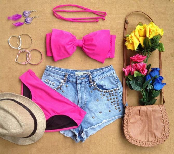 Bow 2 Piece Bikini - Pink