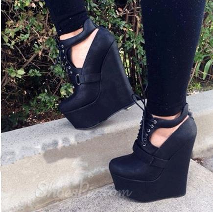 Comforatble Wdege Heel Black Coppy Leather High Heel Sandals