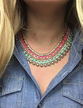 jewels tropical neon statement necklace