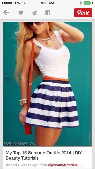 blue and white skirt stripe
