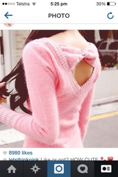 sweater,fluffy,fuzzy sweater,pink,bow
