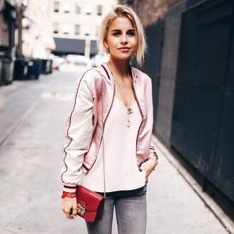 jacket tumblr pink jacket satin bomber bomber jacket top pink top jeans grey jeans bag red bag furla necklace