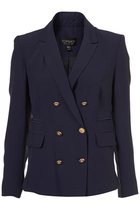 Blue gold button double breasted blazer