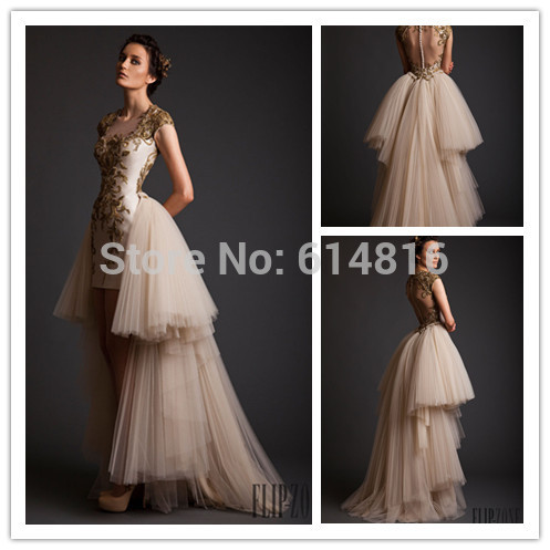 Aliexpress.com : Buy Noble Bainha Vintage Vestidos De Fiesta com destacável trem de ouro apliques de lantejoulas Champagne Prom 2014 Sheer Voltar from Reliable vestir-se levantar suppliers on Suzhou Babyonlinedress Co.,Ltd