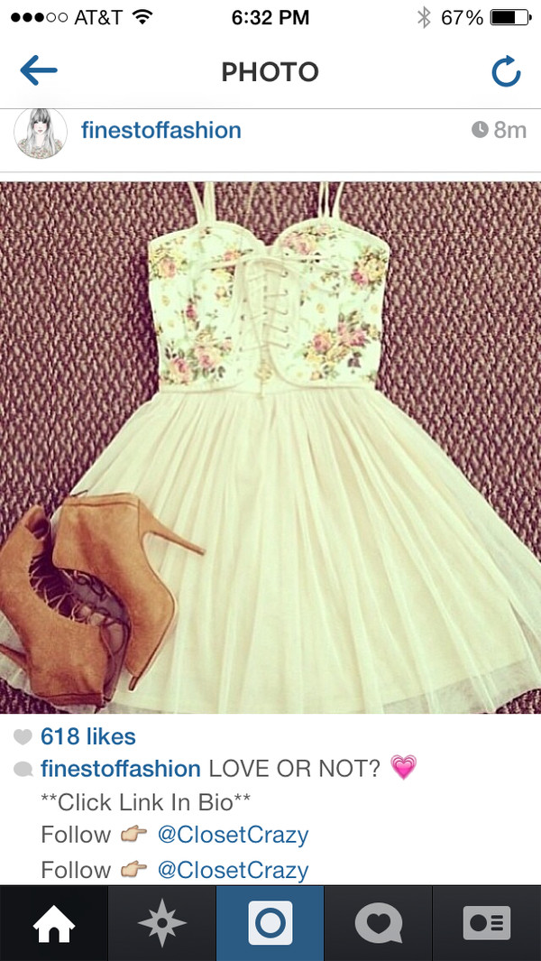 dress floral cute dress white dress