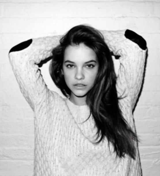 sweater barbara palvin knitted cardigan black and white elbow patches