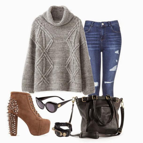 sweater grey sweater knitted sweater knit grey jeans shoes sunglasses jewels bag
