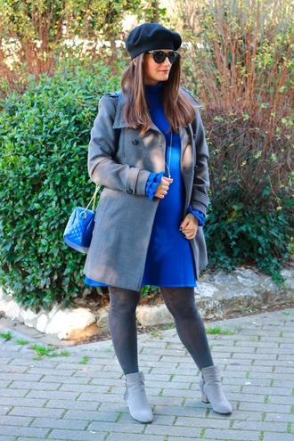 maylovefashion blogger dress bag coat hat shoes beret winter outfits grey coat blue dress ankle boots blue bag