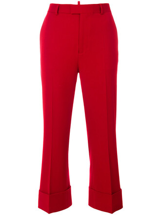 women spandex wool red pants