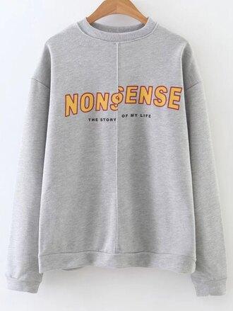sweater grey casual trendy fashion long sleeves jumper sweatshirt warm fall outfits fall sweater winter outfits winter sweater zaful
