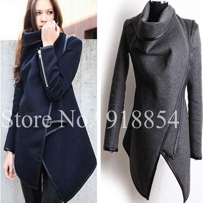 Autumn Winter Women Overcoat Long Zipper O neck Full Pockets Solid Coats Fashion Stitching Asymmetrical Women's Jackets-inBasic Jackets from Apparel & Accessories on Aliexpress.com | Alibaba Group