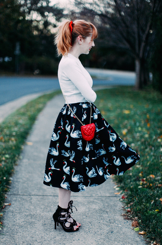the clothes blogger bag swan midi skirt hair bow lace-up shoes retro