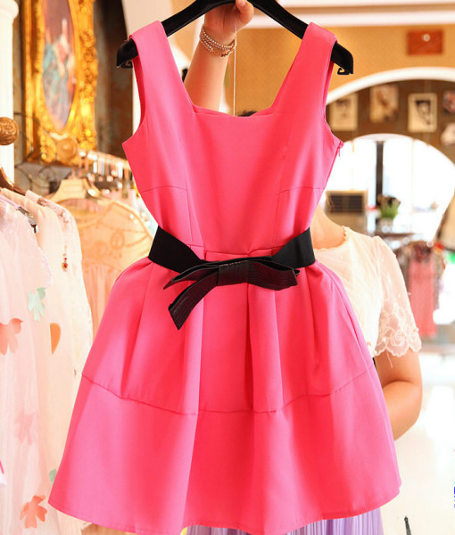 (#2721) O-Neck Fashion Women Pink and Green Color Summer Sleeveless Ball Gown One Piece Dress Lady Clothes | Amazing Shoes UK