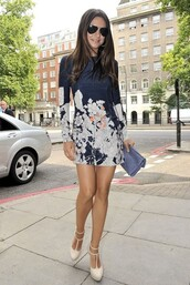 dress,navy,mini dress,floral,vitrines-parisiennes