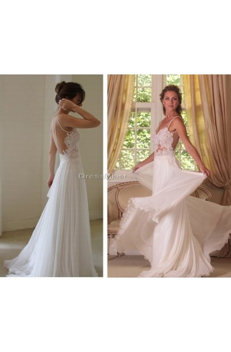 2015 applique white backless chiffon wedding dress