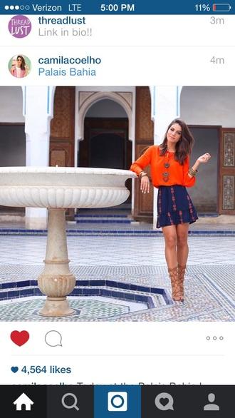 blouse orange blouse and skirt skirt dark blue orange shoes gladiators heels