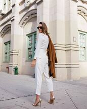 pants,white pants,high waisted pants,cropped pants,sandals,high heel sandals,white shirt,coat,sunglasses