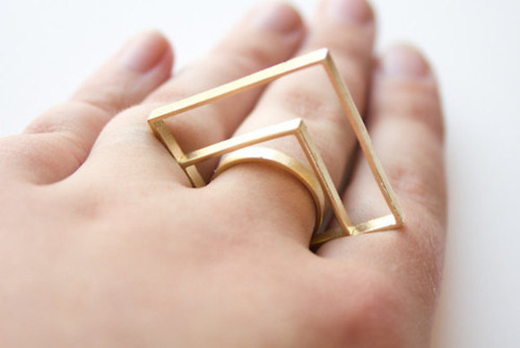 triangle jewels gold modern ring rectangular