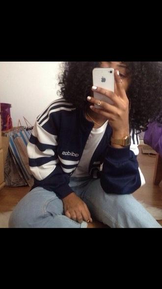 sweater adidas adidas originals blue white three stripes shirt sweatshirt