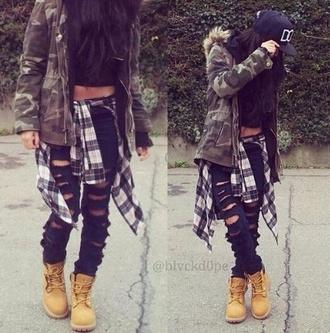 jeans top tank top blouse jacket camo jacket camoflauge fall jacket timberlands hat