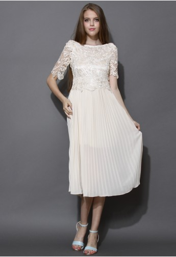 Ivory Crochet and Pleated Chiffon Midi Dress - Retro, Indie and Unique Fashion