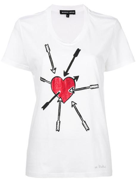 Markus Lupfer - lovestruck foil dani T-shirt - women - Cotton - XS, White, Cotton