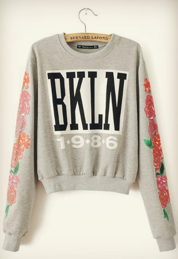 new york city 1986 roses sweater grey