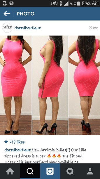 dress pink dress sideboob lowback dress zip