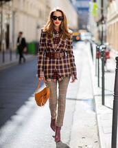 jacket,plaid blazer,plaid,pants,red boots,ankle boots,belt,dior bag,plaid shirt