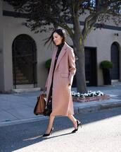 coat,slingbacks,black heels,brown bag,floral dress,midi dress