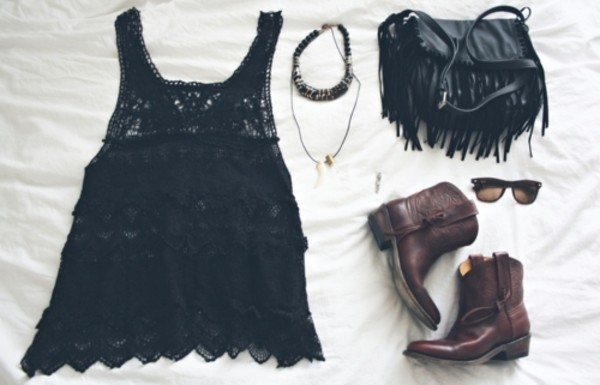 crochet black dress lace leather boots bag fringes cowboy cowboy boots purse handbag soulder bag shoes jewels
