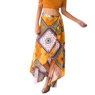 skirt orange tribal pattern aztec wrap summer beach boho shirt