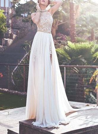 dress white dress white prom dress lace dress lace high low dress two piece dress set long dress