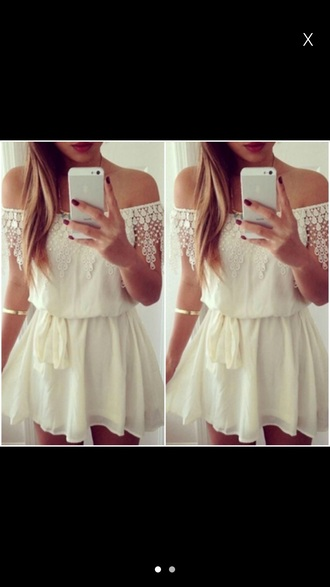 dress white dress lace dress cream summer beach