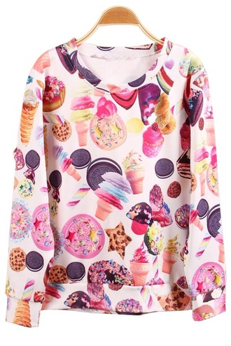sweater sweatshirt junk food colorful underwear candy blouse jumper white ice cream donut food treats stoner harajuku 3d print designer sale crop tops