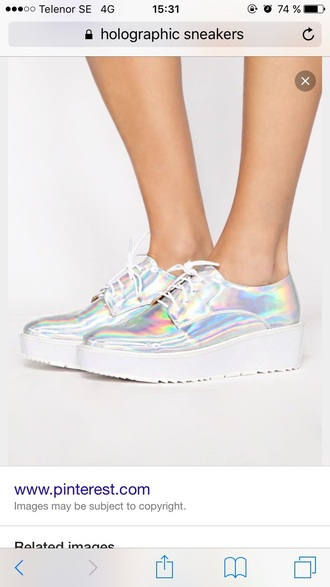 shoes fashion platform shoes holographic oxfords white sneakers girl alternative lace up platform sneakers