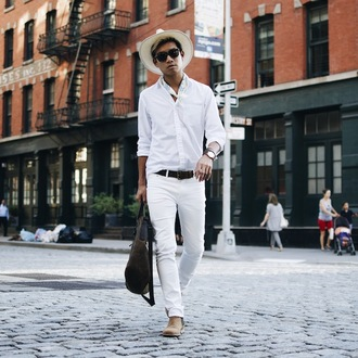 alexander liang blogger hat shirt jeans belt bag sunglasses jewels shoes mens straight jeans mens belt