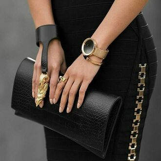 jewels bracelets black & gold bracelet armor ring black and gold gold watch leather clutch gold jewelry bodycon skirt embellished gold ring hand jewelry all black and gold wishlist
