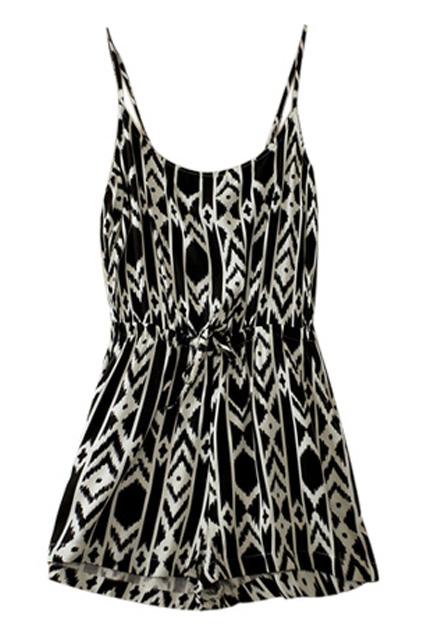 ROMWE | ROMWE Straps Geometric Patterns Print Black-white Playsuit, The Latest Street Fashion