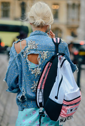 bag,backpack,jacket,jean jackets,blue jean jackets,denim jacket,embellished jacket,embellished denim,destroyed denim,distressed denim