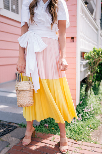 gal meets glam blogger skirt top tank top blouse shoes white blouse pleated skirt midi skirt sandals spring outfits