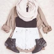 shirt,shorts,scarf,those shose,cardigan,shoes