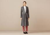 coat,long coat,grey coat,red pants,black heels,white top,soft