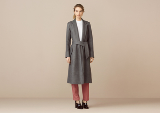 coat long coat grey coat red pants black heels white top soft