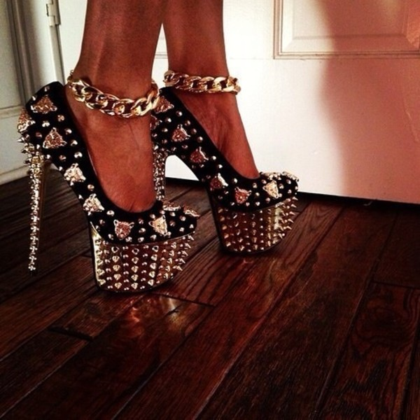 shoes high heels gold high heels black high heels black and gold badass gold and black high heels girly gold sequins rhinestones tiger gold tiger gold chain glitter spikes spiked