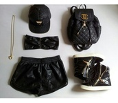 shorts,black,leather,wet look,bag,chanel,quilted,backpack,shoes,quilted bag,leather shorts